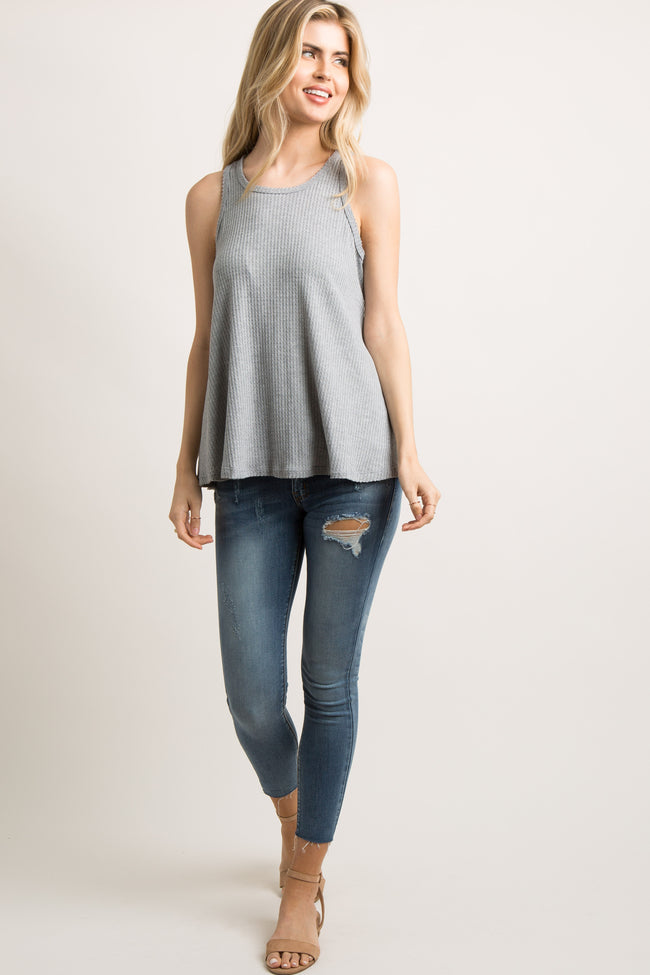 Heather Grey Ribbed Knit Maternity Tank Top