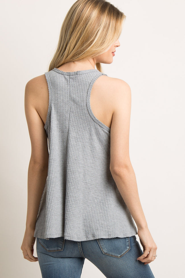 Heather Grey Ribbed Knit Tank Top