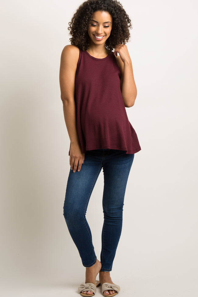 Burgundy Solid Maternity Tank Top