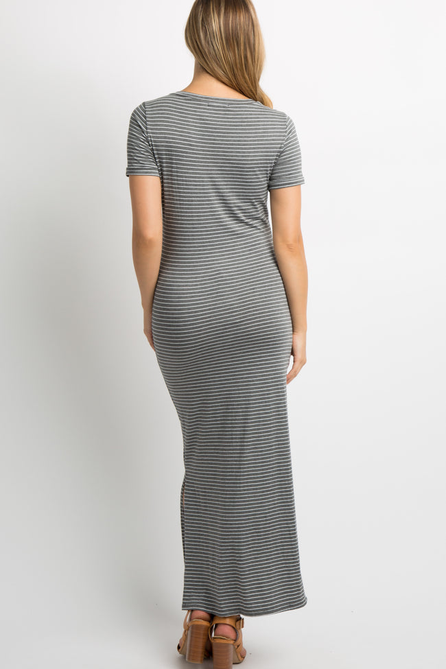 Charcoal Striped Side Slit Maternity Maxi Dress