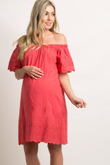 Red Embroidered Off Shoulder Maternity Dress