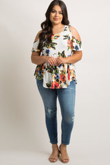 White Floral Cold Shoulder Swing Plus Tunic