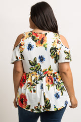 White Floral Cold Shoulder Swing Maternity Plus Tunic
