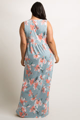Light Blue Floral Sleeveless Knot Front Plus Maternity Maxi Dress