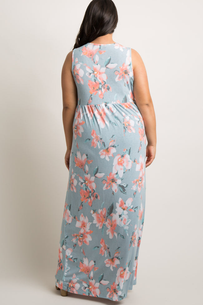 Light Blue Floral Sleeveless Knot Front Plus Maxi Dress