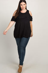 Black Cold Shoulder Ruffle Trim Plus Top