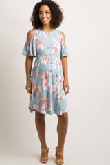 Light Blue Floral Cold Shoulder Maternity Dress