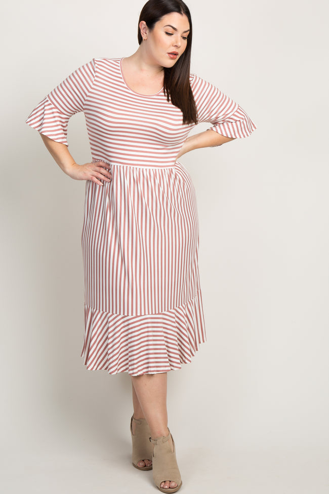 Mauve Striped Ruffle Accent Bell Sleeve Plus Maxi Dress