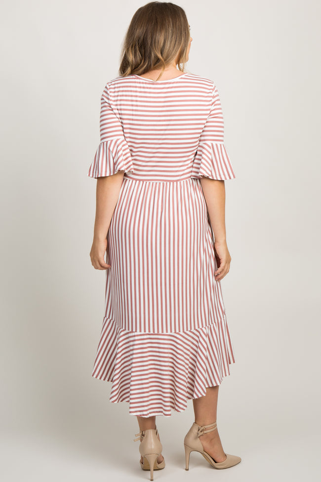 Mauve Striped Ruffle Accent Bell Sleeve Plus Maternity Midi Dress