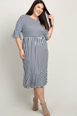 Navy Striped Ruffle Accent Bell Sleeve Plus Maxi Dress