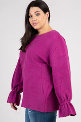 Magenta Heathered Soft Knit Plus Sweater