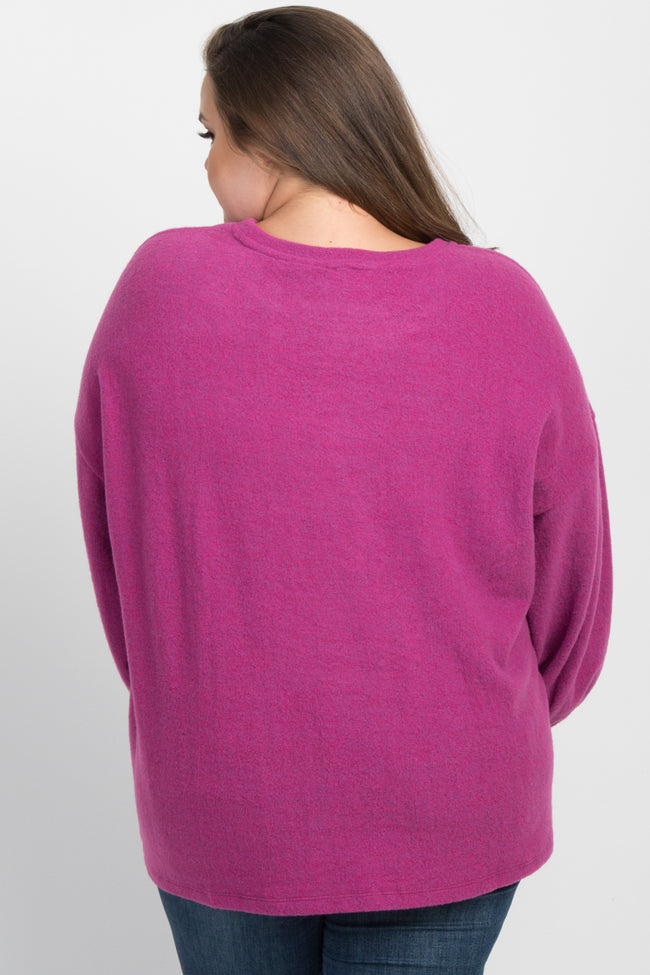 Magenta Heathered Soft Knit Plus Maternity Sweater
