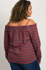 Red Plaid Open Shoulder Button Front Plus Maternity Top
