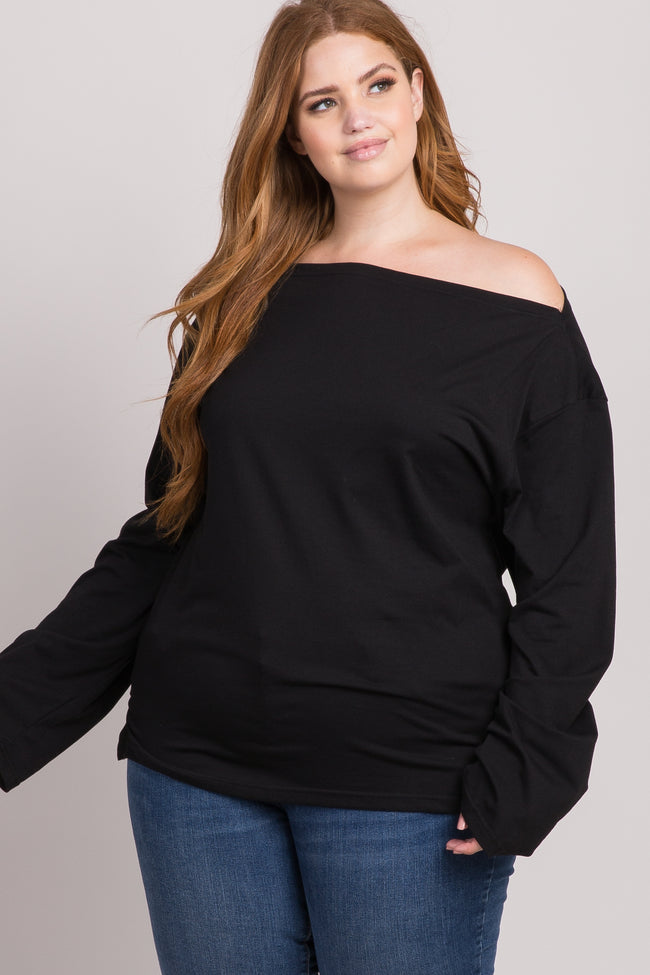 Black Off Shoulder Plus Top