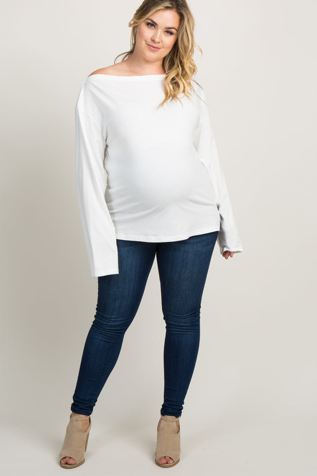 White Off Shoulder Maternity Plus Top