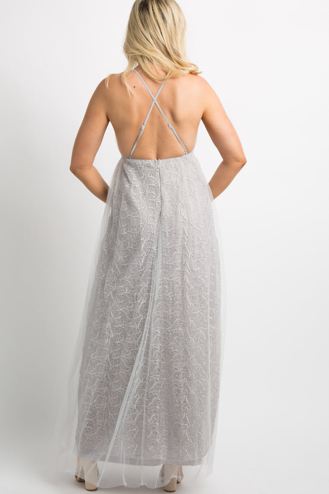 Grey Tulle Overlay Embroidered Maternity Evening Gown