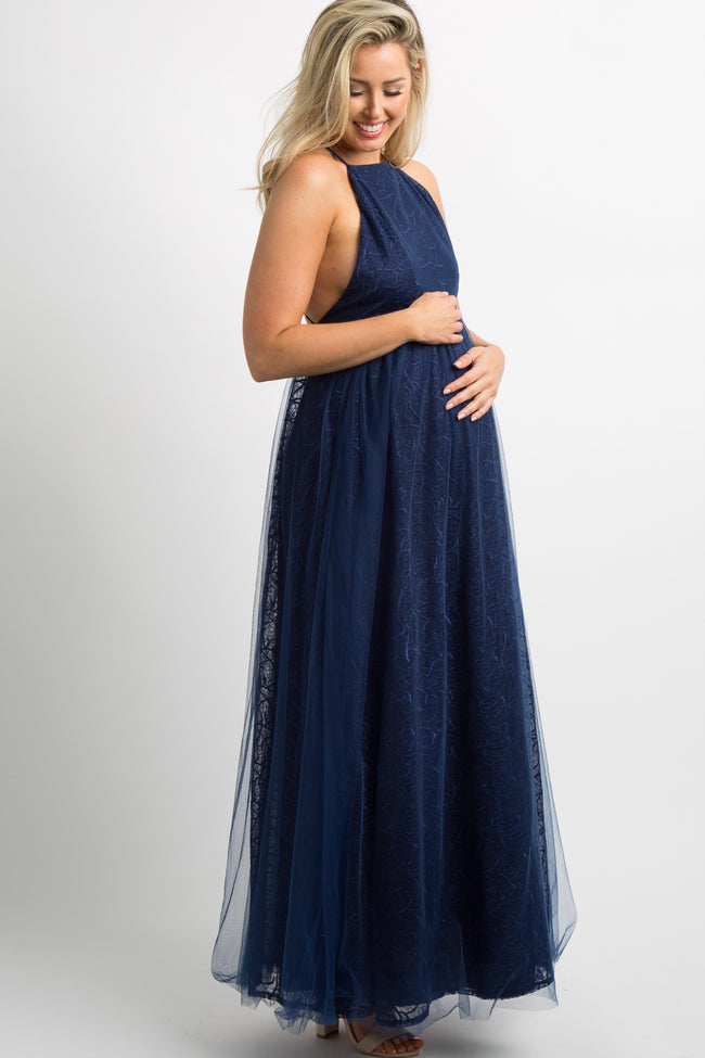 Navy Blue Tulle Overlay Embroidered Maternity Evening Gown