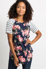 PinkBlush Navy Blue Floral Colorblock Striped Maternity Top