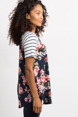 PinkBlush Navy Blue Floral Colorblock Striped Top