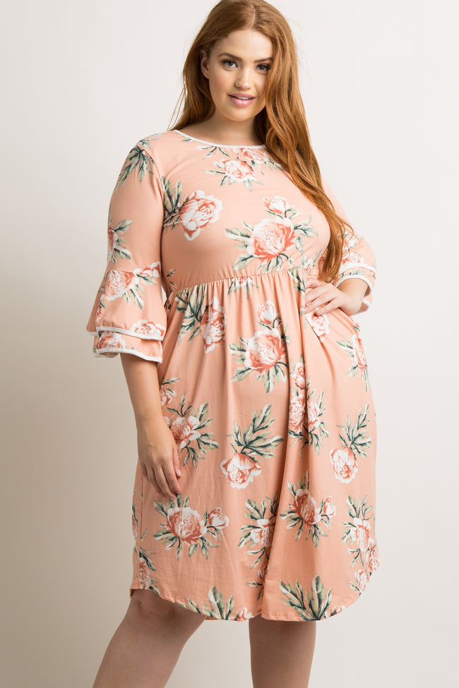 Pink Floral Layered Sleeve Plus Dress