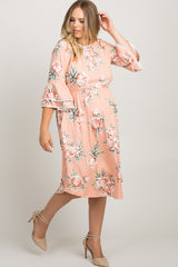 Pink Floral Layered Sleeve Plus Maternity Dress