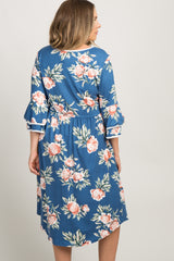 Blue Floral Layered Sleeve Plus Maternity Dress