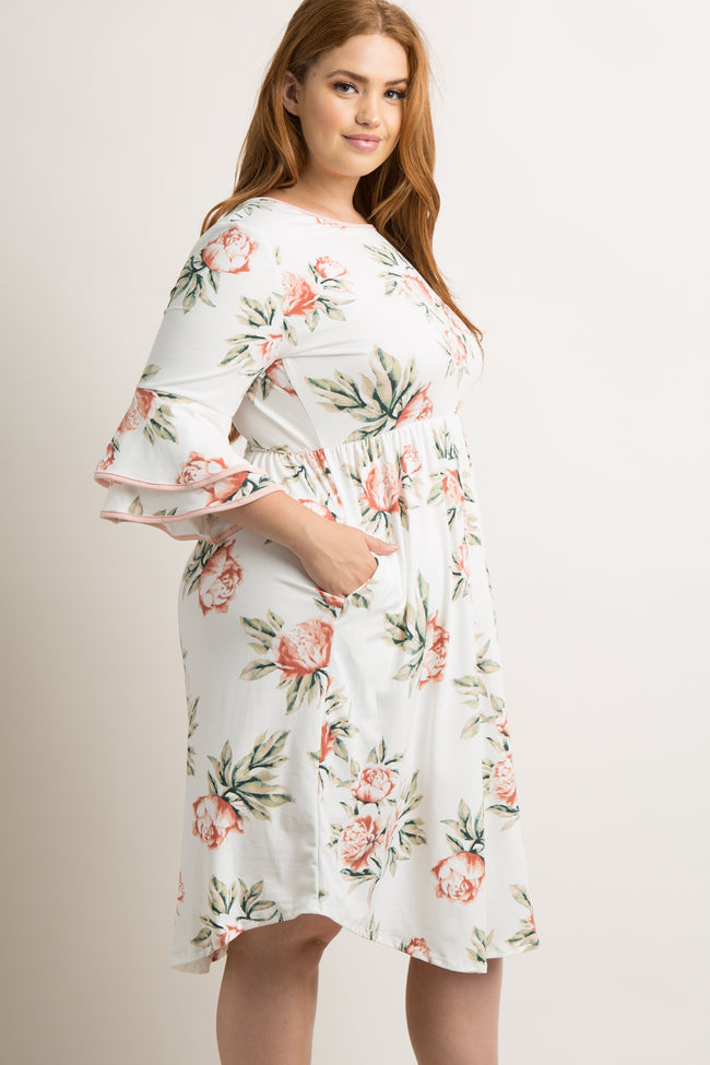 Ivory Floral Layered Sleeve Plus Maternity Dress