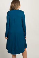 Teal Mock Neck Plus Maternity Dress