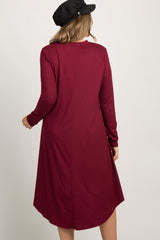 Burgundy Mock Neck Plus Maternity Dress