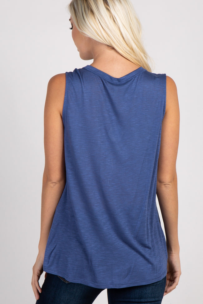 Blue Solid Cutout Front Top