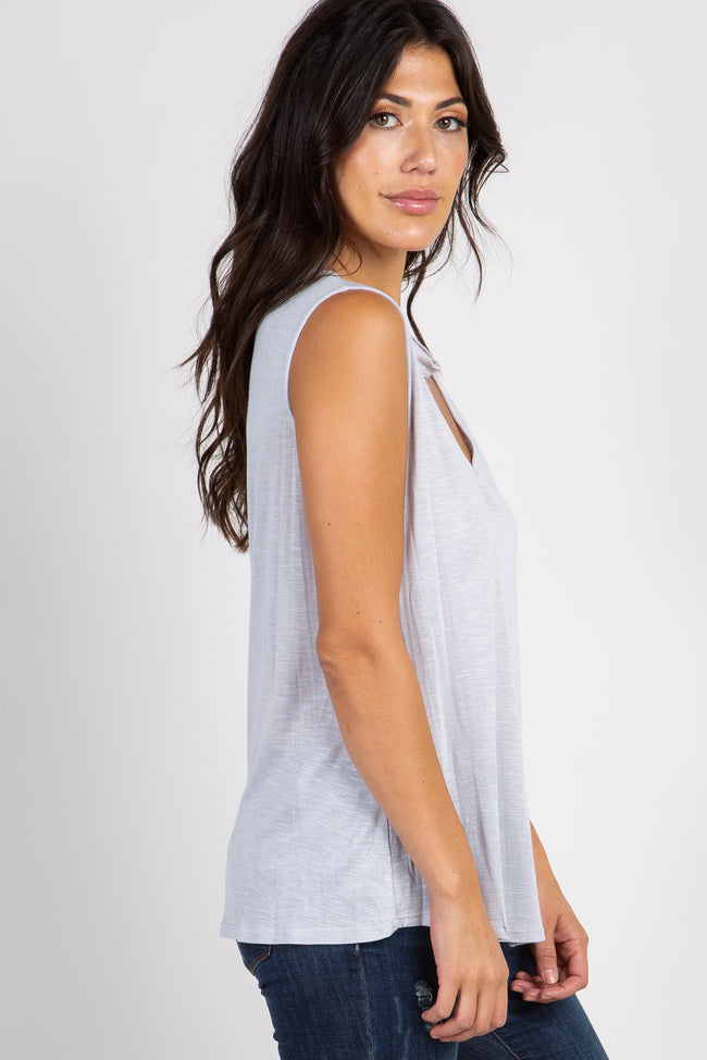 Heather Grey Sleeveless Cutout Front Top