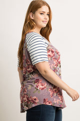 Mauve Floral Striped Sleeve Plus Top