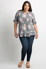 Navy Blue Faded Floral Flounce Plus Top