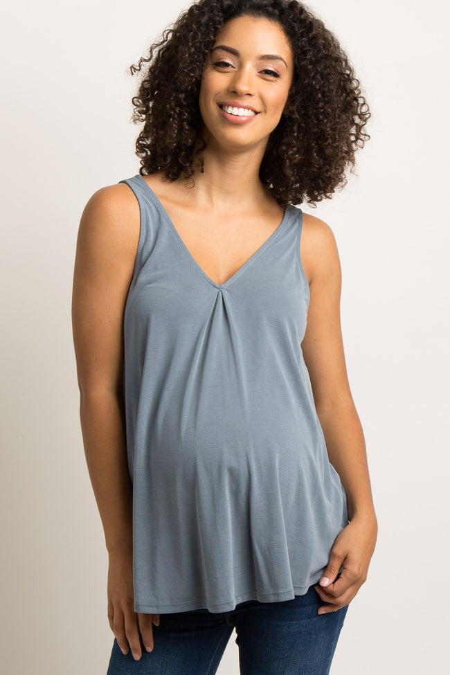 Blue Pleated V-Neck Maternity Tank Top