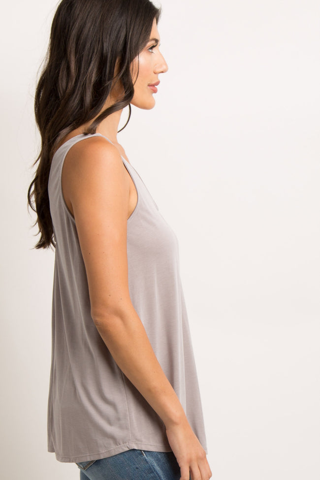 Taupe Pleated V-Neck Tank Top