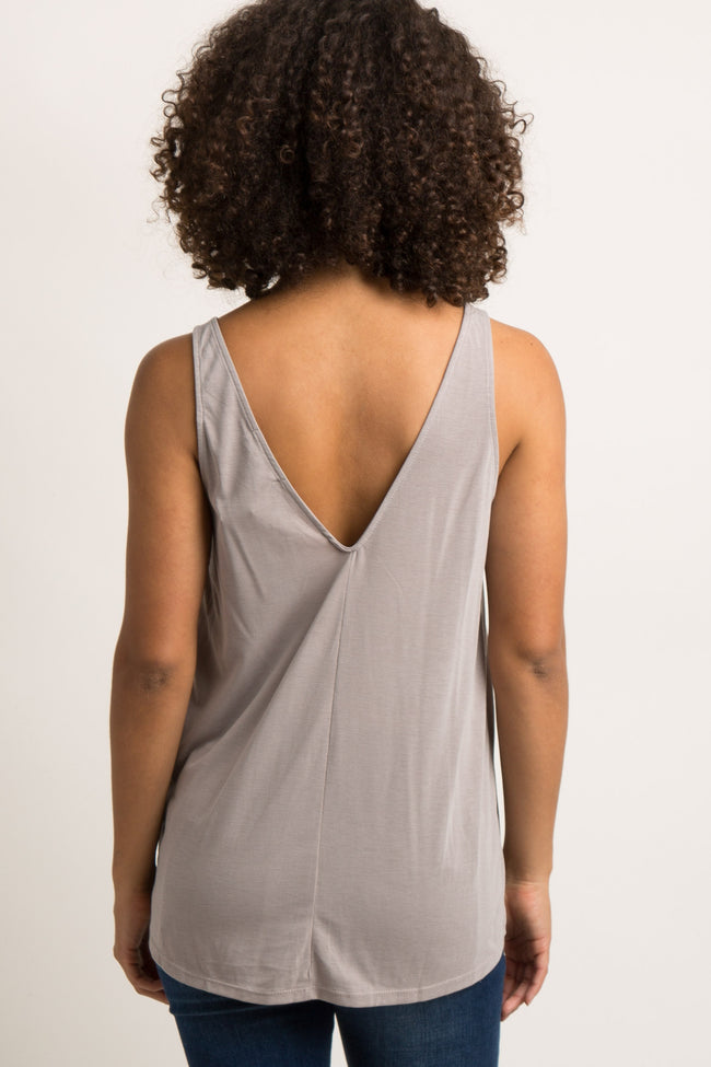 Taupe Pleated V-Neck Maternity Tank Top
