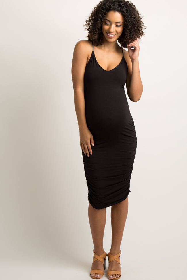 Black Solid Fitted Maternity Cami Midi Dress