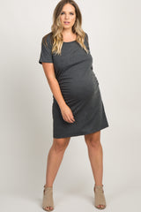 Charcoal Grey Basic Ruched Fitted Plus Maternity Dress