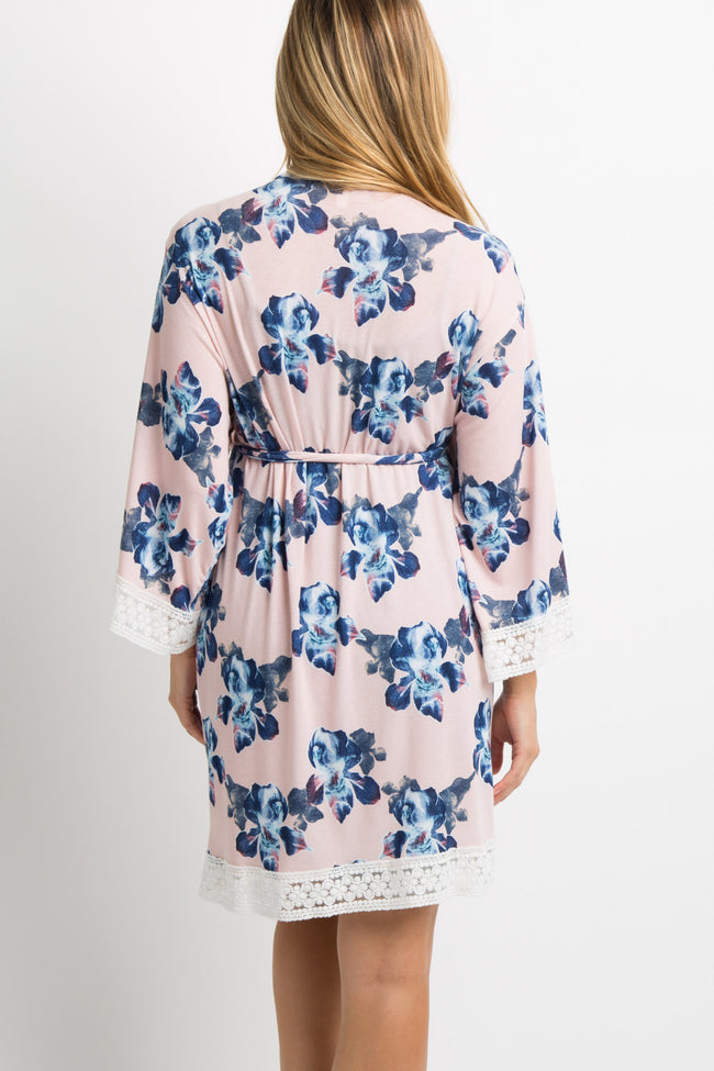 Pink Floral Lace Trim Delivery/Nursing Maternity Robe