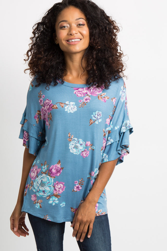 Blue Floral Layered Sleeve Maternity Top