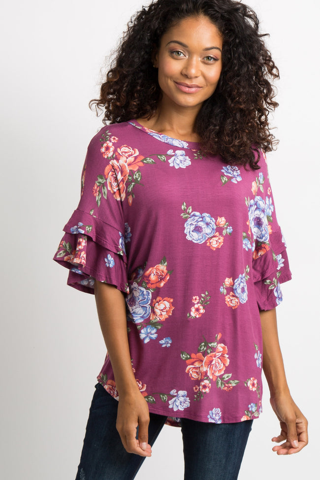 Purple Floral Layered Sleeve Top