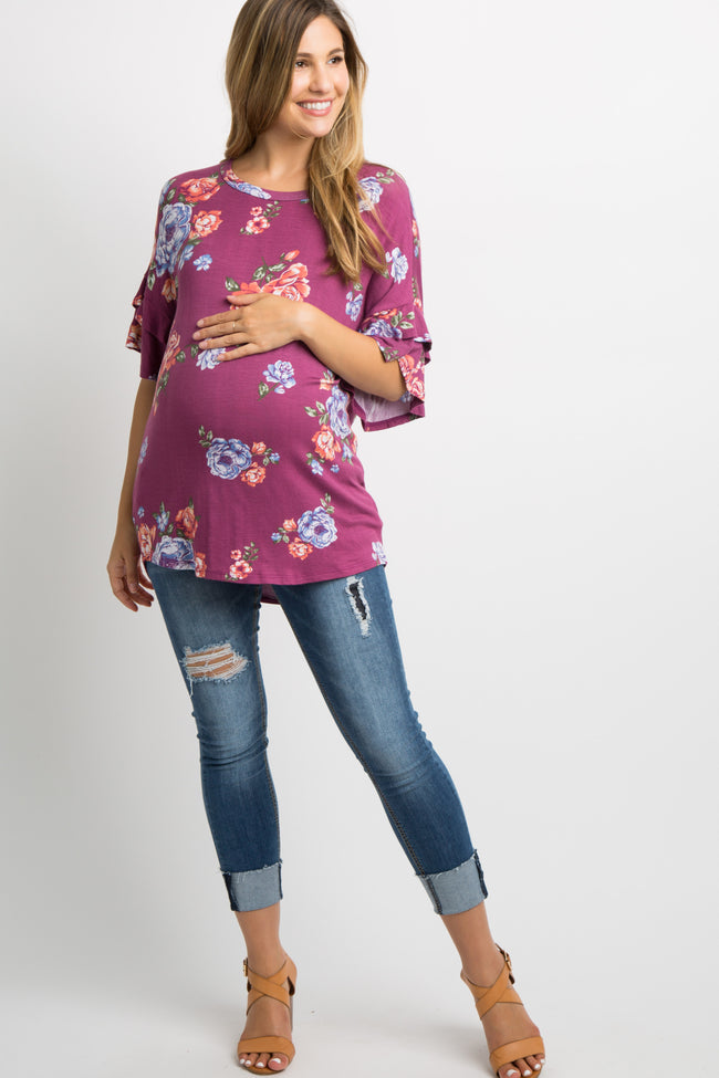 Purple Floral Layered Sleeve Maternity Top