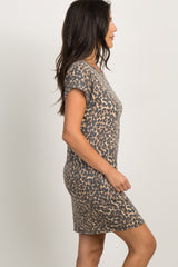 Mocha Leopard Print Cutout Dress