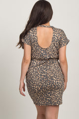 Mocha Leopard Print Cutout Maternity Dress