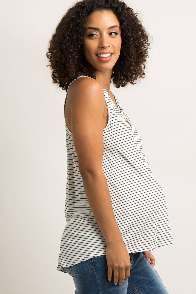 White Striped Crisscross Front Maternity Tank Top