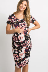 Black Rose Floral Fitted Ruched Maternity Dress
