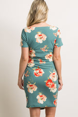 Green Floral Print Fitted Maternity Dress