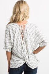 White Striped Knot Back Tassel Tie Top