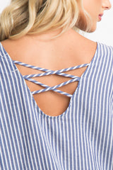 Blue Striped Ruffle Trim Crisscross Top