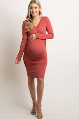 Rust Cross Front Fitted Maternity/Nursing Dress